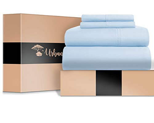 (URBANHUT Egyptian Cotton Sheets Set - 700 Thread Count 100% Cotton Bed Sheets Queen (4 Piece), Luxury Queen Size Sheets, Deep Pocket, Soft & Silky Sateen Weave (Light Blue) )