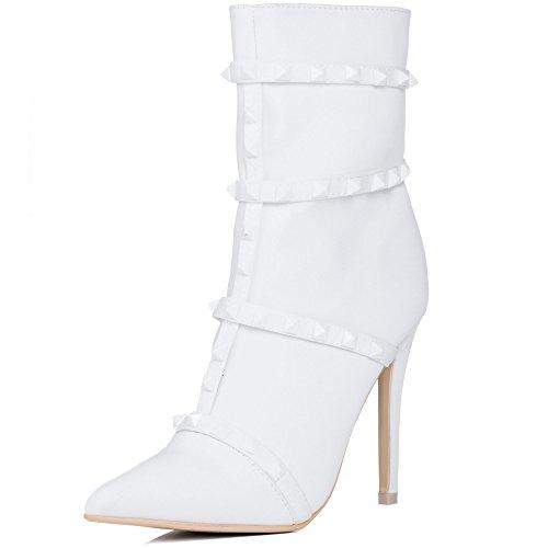 Reissverschluss High Spylovebuy Heel Stilettoabsatz Stiefeletten Weiß DRAGONA Stretch Damen Schuhe pqEBnxrtEw