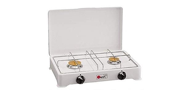 Hornillo de mesa Parker con 2 fuegos, alimentación de gas GLP (gas en botones) con válvulas de seguridad para uso interior B/O
