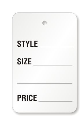 Metronic Price Tags, Perforrated Merchandise Marking Tags, One-Part White Paper Tags, 1-1/4 x 1-7/8 - Inches Marking Tags, Pack of 1000(5902)