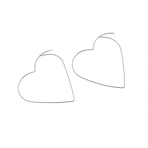 F-U Heart Hoop Earrings Large Geometric Dangle Hoops Earrings Silver Plated Fashion Earrings for Women