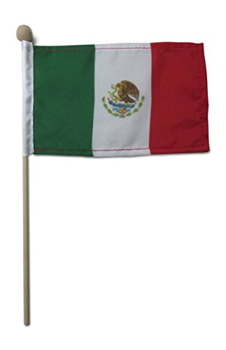 Tinisa's World 10 Premium 4x6 Inch Mexican Mexico Cinco De Mayo Hand Held Stick Flags Safety Ball Top