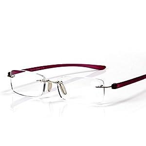 Stylish Unisex Portable Sleek Design Purple Rimless Magnifying Crystal Lenses Readers Reading Glasses Travel Trip Frameless Clear Eyeglasses Eyewear Presbyopic Glasses Spectacles +3.50