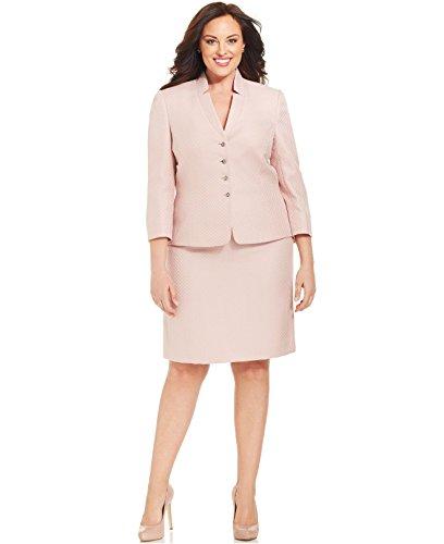 (Tahari ASL Malibu Pink Herringbone Vince Two Piece Skirt Suit Set 22w)