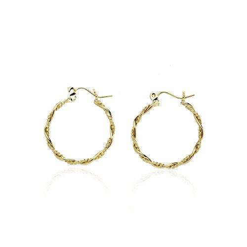 14k Yellow Gold Fancy Twisted Round Hoop Earring in Gift Box for Women and Teen Girls 14k Yellow Gold Twisted Hoop