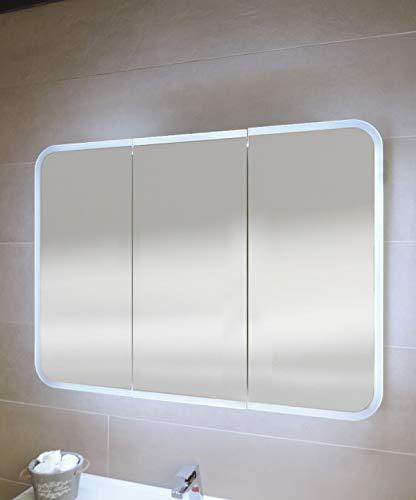 Pensile Specchio Contenitore Per Bagno.Specchiera Specchio Bagno Pensile Contenitore 3 Ante Fascia Led Cm 70x95x13