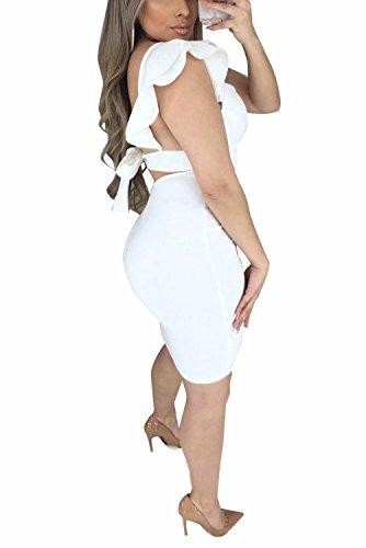 Estate Donne Sexy Manicotto Dell'increspatura Bianchi Adogirl Midi Backless Bodycon Fasciatura Del Vestito Della Club Del HRzBTxwqnH
