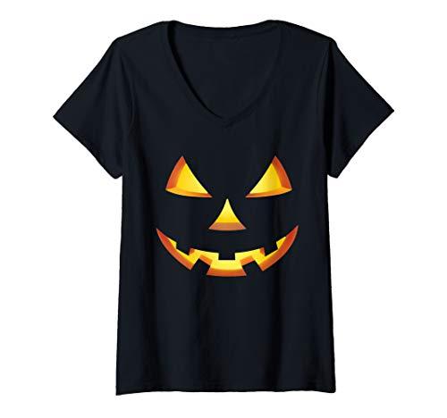 Womens Spooky Halloween Jack-o-lantern Face Costumes V-Neck T-Shirt -