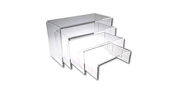 Eposgear - Soporte de plástico acrílico transparente o de colores, ideal para tiendas, estantes, adornos, modelos, etc, color transparente Full Set of 4 Stands: Amazon.es: Oficina y papelería