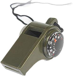 LIUYUNE,Thermomètre sifflant Multifonctionnel de boîte à Outils d'équipement de Camping en Plein air 3-en-1(Color:ARMÉE Verte)