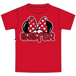 Disney Minnie Mouse Red Sister T-Shirt, Small