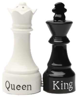 Chess King Queen - Queen and King Chess Magnetic Ceremic Salt and Pepper Shakers by PTC