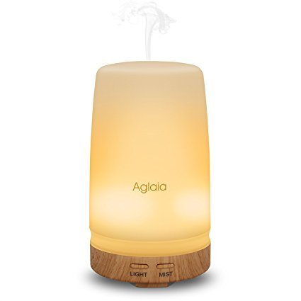 Aiho Aglaia Essential Oil Diffuser, 100ml Cool Mist Aroma Humidifier, Bright & Dim Warm Night Light, Continuous & Intermittent Modes, Auto Shut off