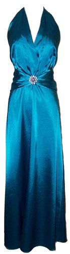 Rhinestone Pin Satin Satin Halter Gown Holiday Formal Bridesmaid Prom Dress, Small, Teal