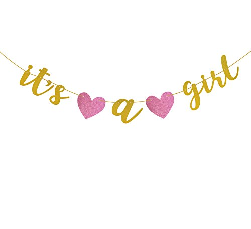 Famoby Gold Glittery It's a Girl Banner for Baby Shower Party Decorations - Girl Banner