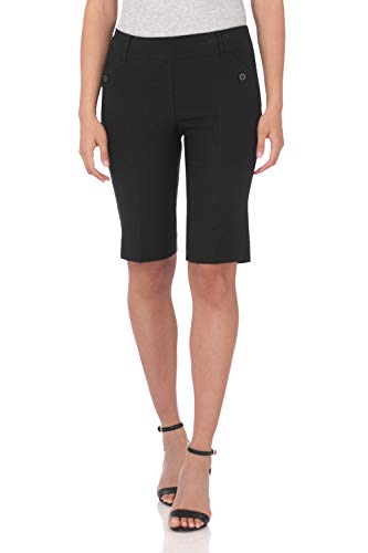 Rekucci Women's Ease Into Comfort Modern Pull On Bermuda Short with Pockets (12,Black Squares)