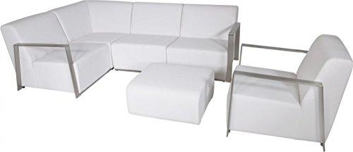 Casa Padrino Art Deco Designer Garten Möbel Set Weiß mit Sunbrella Stoff - schnelltrocknend - Luxus Garten Möbel Set