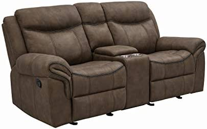 Coaster Leather Sawyer Glider Loveseat