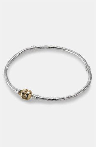 (PANDORA 590702HG-20 Two-Tone Barrel Clasp Bracelet, 7.9)