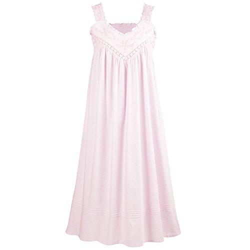 La Cera Cotton Chemise - Lace V-Neck Nightgown with Pockets Nightgown - Pink - - Cotton Chemise Lace