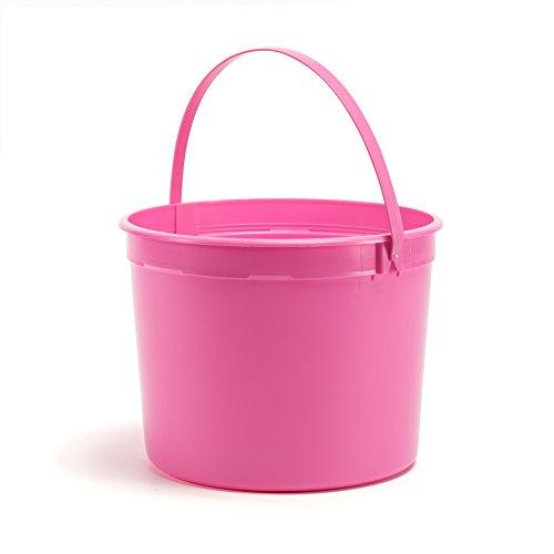 Halloween Trick or Treat 1.25 Gallon Plastic Buckets Pink Taffy w/ Pink Taffy Handle 50 Pack