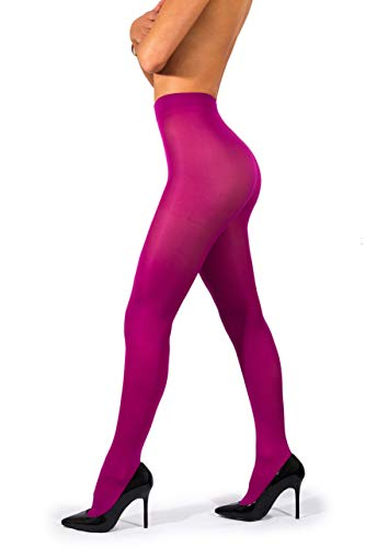 sofsy Opaque Microfibre Tights for Women - Invisibly Reinforced Opaque Brief Pantyhose 40Den [Made In Italy] Fuchsia 4 - Large]()