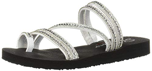 Skechers Women's Meditation-Glam Flash-Rhinestone Toe Loop Thong Flip-Flop, White, 10 M US