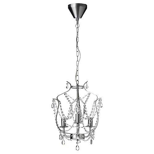 IKEA 200.894.64 Kristaller Chandelier, 3-Armed, Silver Color, Glass