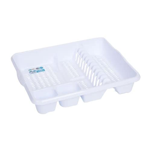 High Grade Extra Large Plastic Dish Drainer Plate and Cutlery Rack in Ice White