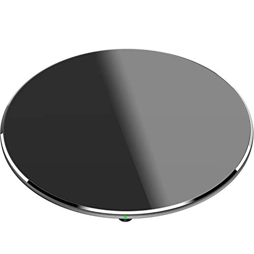 TOZO W3 Wireless Charger Thinnest Fast Charging Pad with Aviation Aluminum CNC Unibody Sleep-Friendly Black (NO AC Adapter)