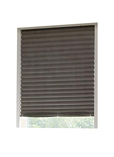 Aluminum Foil Coated Blackout Polyester Shades – Pleated Window Shades RICO Blinds Grey, Cordless Easy Durable, 36inch x 94inch, 2Pack (Gray, 94 inch)