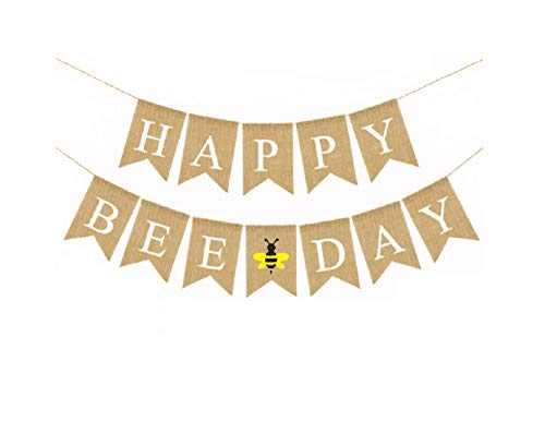 Happy Bee Day Banner Burlap Bunting Banner Garland Flag for Baby Girl Baby Boy First Birthday Decorations