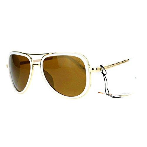 Studio Cover Side Shield Sunglasses Aviator Frame Unisex Fashion White, - Side Shields Aviator With Sunglasses
