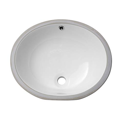 Lordear 19'' Vessel Sink Modern Pure White Oval Undermount Sink Porcelain Ceramic Lavatory Vanity Bathroom Sink (19 Inch)
