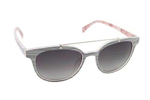 Alfombra roja mujer Fluorita polarizadas anteojos de sol redondas, color blanco y gris, 51mm