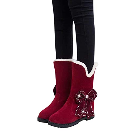 Bout on Bow Perle Holywin De Chaud Compenses Chaussures Bottes Rouge Au Rond Neige Femmes Perles Garder Slip 57Ew4qIw