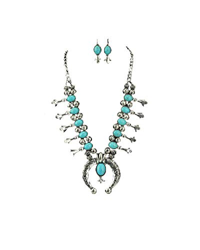 Sterling Blossom - Jayde N' Grey Navajo Southwestern Squash Blossom Tribal Turquoise Necklace (Turquoise Traditional Large)