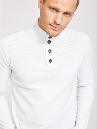 G by GUESS Men's Felix Mock-Neck Sweater True White ()
