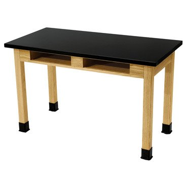 National Public Seating Science Lab Table -Dual Book Compartment - Plain Front - 30 X 72 In Black, Oak by National Public Seating