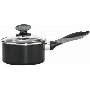 Mirro A79721 Get A Grip Aluminum Nonstick Sauce Pan with Glass Lid Cover Cookware, 1-Quart, Black