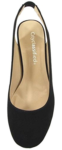 Pump Sandal Toe Heel City Nbpu Women's Block Black Round Slingback Classified w08wI