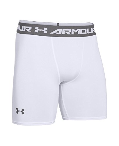 Under Armour Men's HeatGear Armour Compression Shorts – Mid, White (100)/Graphite, Medium by Under Armour (Image #3)