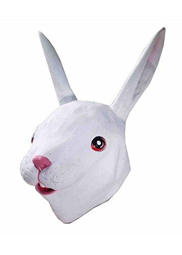 Forum Novelties Men's Deluxe Latex Rabbit Mask, White, One (Rabbit Head Mask)