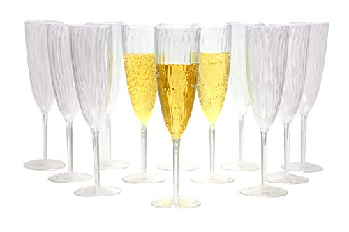 Premium Champagne Flutes 6 oz. Clear Hard Plastic Disposable Glasses, Value Box Set – 96 Count