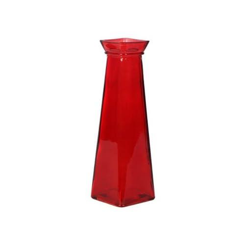 "Short Glass Bud Vase, 7.75"" tall (Red)"