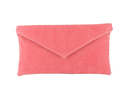 Womens Envelope Suede Clutch Shoulder