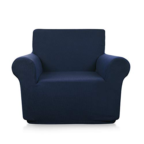 Beautiful Myth Armchair Slipcover Small Checks Knitted Jacquard Sofa Chair Covers Stretch Couch Slipcover Sofa Protection for Living Room Bedroom (Chair, Navy Blue)