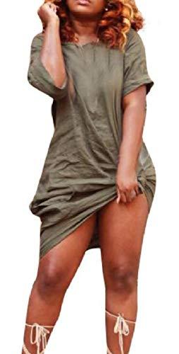 yibiyuan Women Solid Dress Short Sleeve Twist Knot Front Mini Dresses