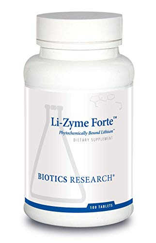Biotics Research Li-Zyme ForteTM- 150 mcg Plant-sourced, phytochemically-Bound Lithium. Supports Brain Function. Memory and Mood Support.100 Tablets
