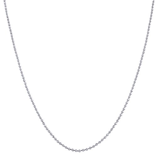 Pori Jewelers 925 Sterling Silver 1.5MM Diamond Cut Bead Chain Necklace - for Women -Made in Italy (22)